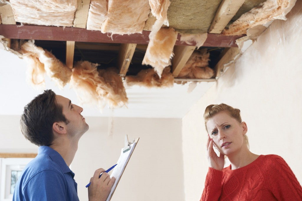 Builder And Customer Discussing Ceiling Repair