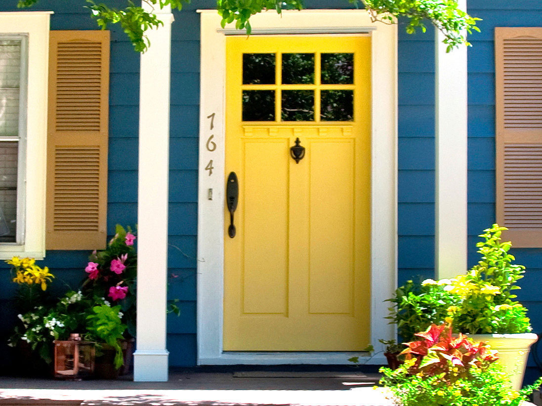 Bright Blue House Wall Painting Paired With Yellow Front Door Color Between French Windows Plus Succulent Planters For Porch Decoration 1