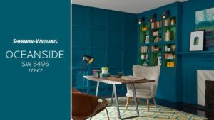 Sherwin-Williams 2018 Color of the Year OCEANSIDE (SW 6496) color swatch blob