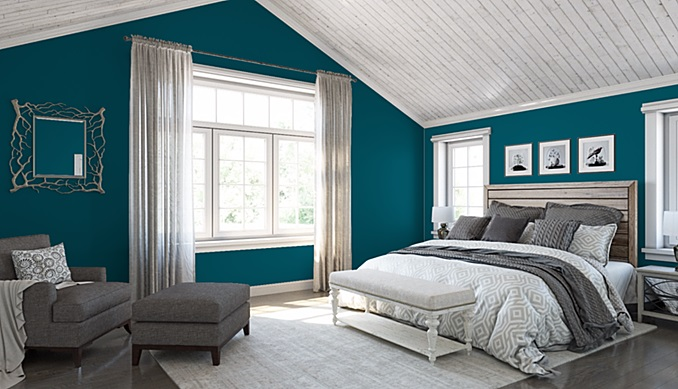 Sherwin-Williams color of the year Oceanside bedroom walls accent