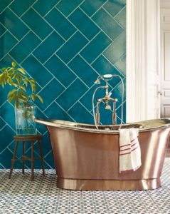 Sherwin-Williams 2018 color of the year Oceanside bathroom tile copper
