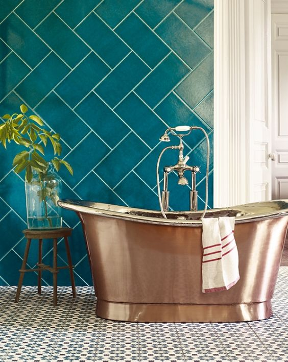 Sherwin-Williams color of the year Oceanside bathroom tile copper