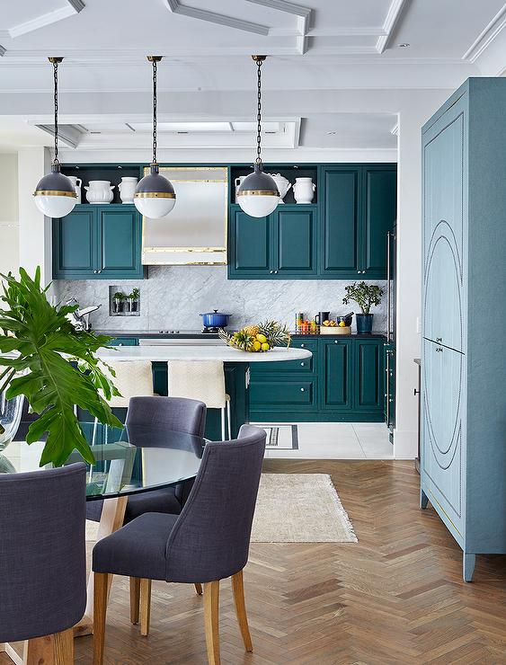 Sherwin-Williams 2018 Color of the Year OCEANSIDE (SW 6496) in the kitchen