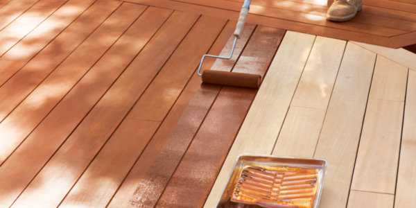 wood deck stain staining half stained